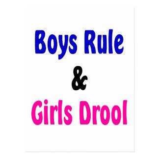 Garçons règle et bave de filles carte postale
