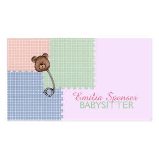Garde d'enfants et carte de broche d'ours de carte de visite standard