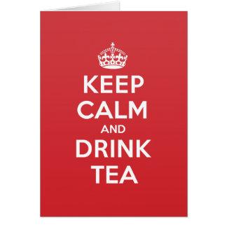 Gardez la carte de note calme de salutation de thé