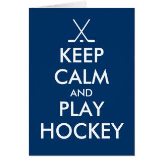 Gardez la carte de voeux de calme et d'hockey de