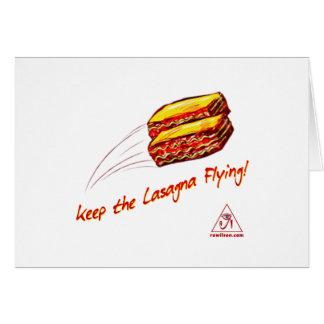 Gardez la carte de voeux de vol de lasagne