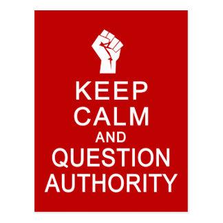 Gardez la carte postale d'autorité de calme et de
