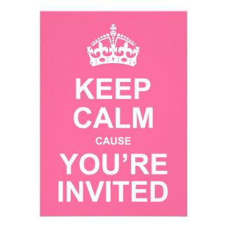Gardez la cause calme que vous êtes le bonbon invi invitation personnalisée