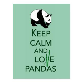 Gardez la copie d art de cadeau de pandas de calme carte postale