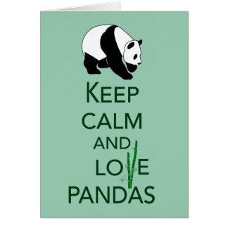 Gardez la copie d'art de cadeau de pandas de calme cartes de vœux