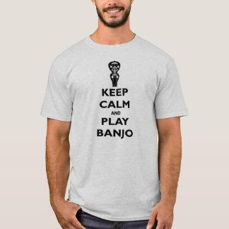 Gardez la pièce en t de banjo de calme et de jeu t-shirt