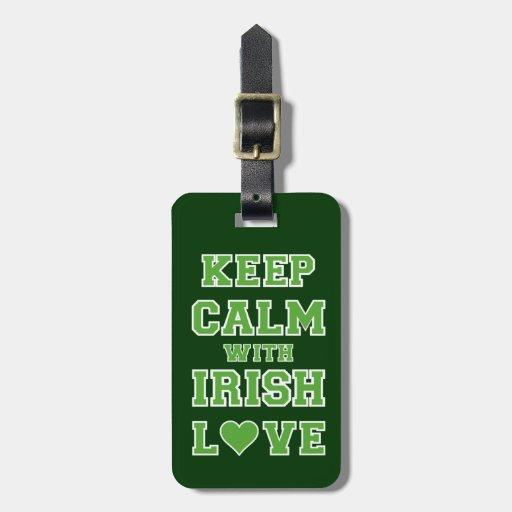 Gardez le calme avec amour irlandais étiquettes à bagages