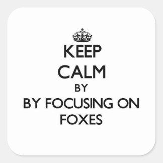 Gardez le calme en se concentrant sur des renards sticker carré