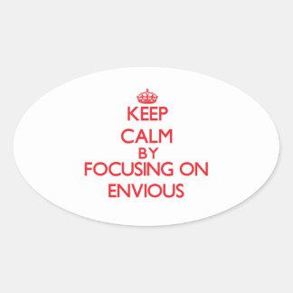 Gardez le calme en se concentrant sur ENVIEUX Stickers Ovales