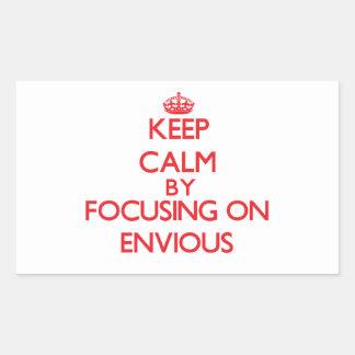 Gardez le calme en se concentrant sur ENVIEUX Stickers En Rectangle