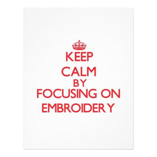 Gardez le calme en se concentrant sur la BRODERIE Prospectus Avec Motif
