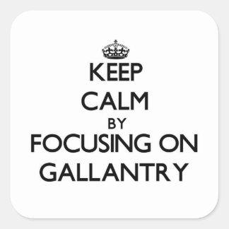 Gardez le calme en se concentrant sur la galantery autocollant carré