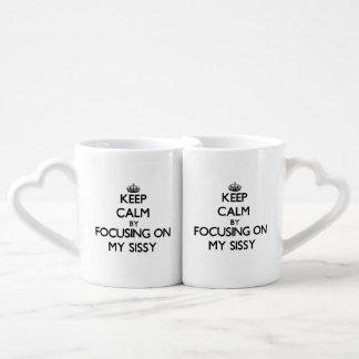 Gardez le calme en se concentrant sur ma poule mou set tasses duo