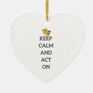 Gardez le calme et agissez sur la vitesse ornement cœur en céramique