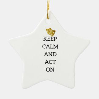 Gardez le calme et agissez sur la vitesse ornement étoile en céramique