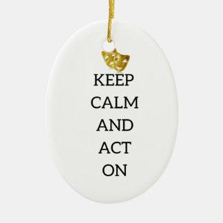 Gardez le calme et agissez sur la vitesse ornement ovale en céramique