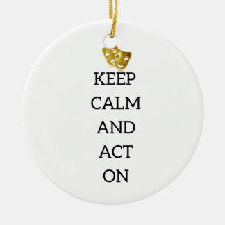 Gardez le calme et agissez sur la vitesse ornement rond en céramique