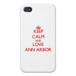 Gardez le calme et aimez Ann Arbor Coques iPhone 4/4S