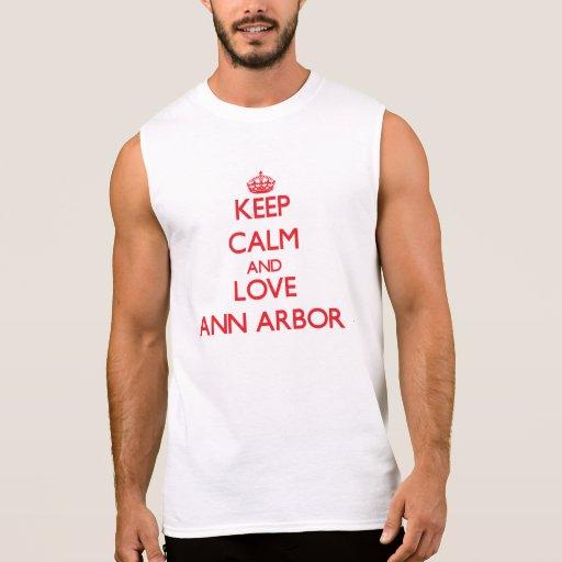 Gardez le calme et aimez Ann Arbor T-shirts Sans Manches
