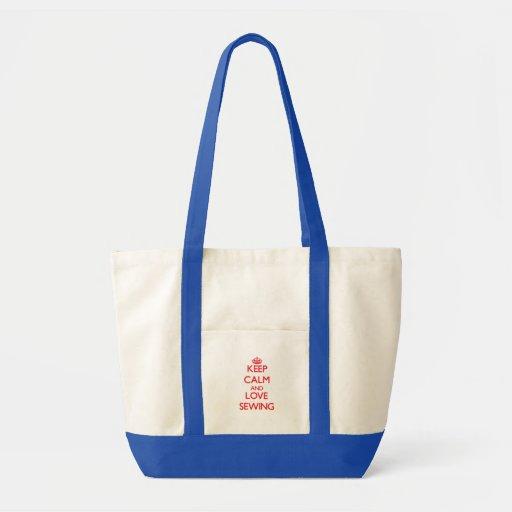 Gardez le calme et aimez coudre sacs en toile