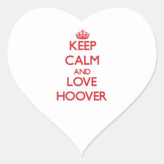 Gardez le calme et aimez Hoover Autocollants En Cœur