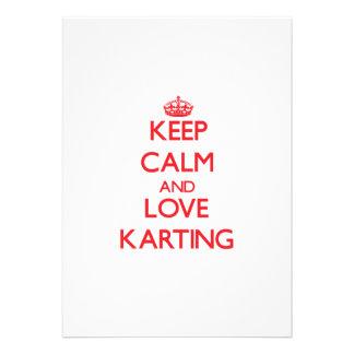 Gardez le calme et aimez Karting Faire-parts