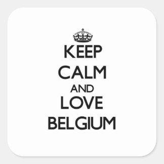 Gardez le calme et aimez la Belgique Sticker Carré
