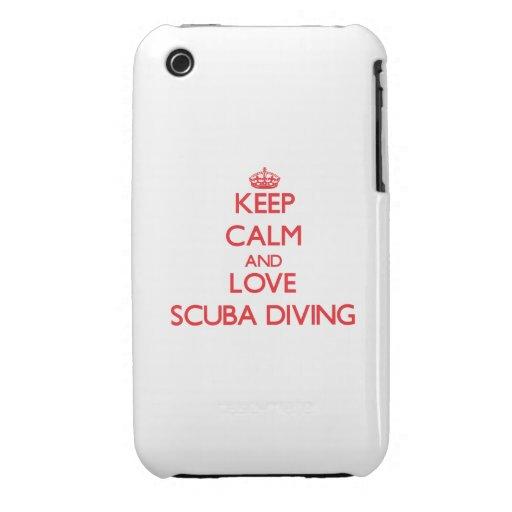 Gardez le calme et aimez la plongée à l'air coque iPhone 3 Case-Mate