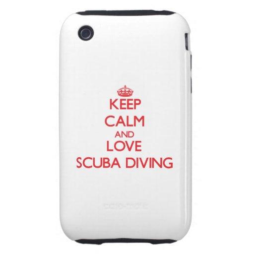 Gardez le calme et aimez la plongée à l'air coques iPhone 3 tough