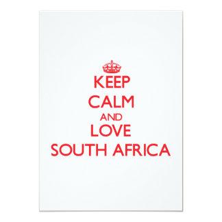 Gardez le calme et aimez l'Afrique du Sud Carton D'invitation 12,7 Cm X 17,78 Cm