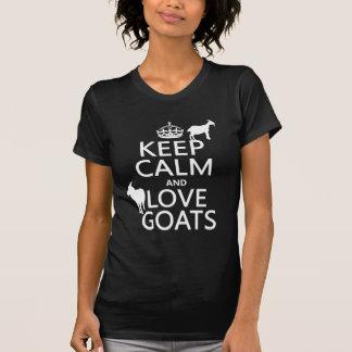 Gardez le calme et aimez les chèvres (toute t-shirt