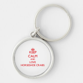 Gardez le calme et aimez les crabes en fer à cheva porte-clé rond argenté