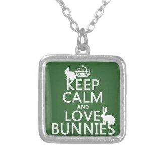 Gardez le calme et aimez les lapins - toutes les pendentif carré