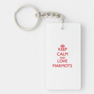 Gardez le calme et aimez les marmottes porte-clef