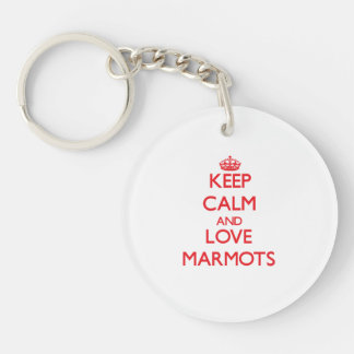 Gardez le calme et aimez les marmottes porte-clé rond en acrylique double face