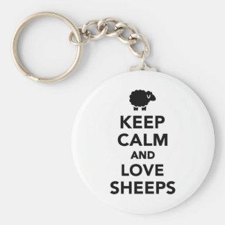Gardez le calme et aimez les moutons porte-clé rond