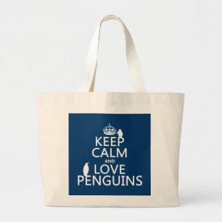 Gardez le calme et aimez les pingouins (toute coul sacs