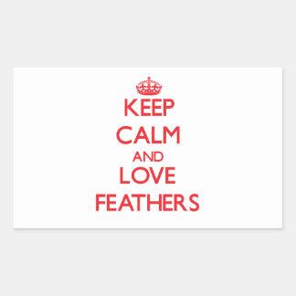 Gardez le calme et aimez les plumes stickers en rectangle