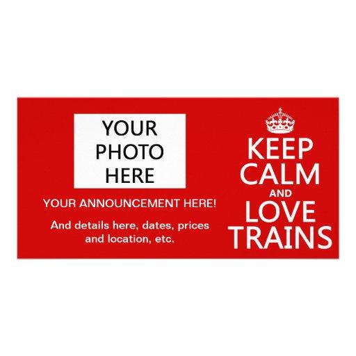 Gardez le calme et aimez les trains (les couleurs  cartes de vœux avec photo