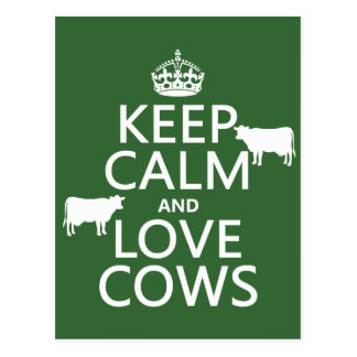 Gardez le calme et aimez les vaches (toutes les co carte postale