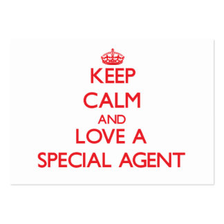 Gardez le calme et aimez un agent spécial carte de visite grand format