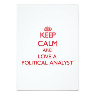 Gardez le calme et aimez un analyste politique faire-part personnalisé