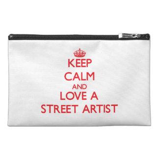Gardez le calme et aimez un artiste de rue trousses à accessoires de voyage