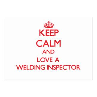 Gardez le calme et aimez un inspecteur de soudure modèle de carte de visite