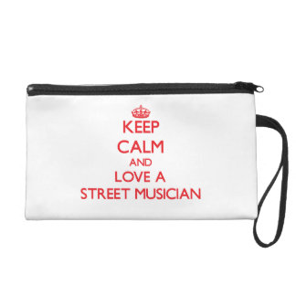 Gardez le calme et aimez un musicien de rue pochette avec dragonne