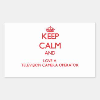 Gardez le calme et aimez un opérateur de caméra de sticker en rectangle