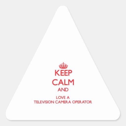 Gardez le calme et aimez un opérateur de caméra de stickers en triangle