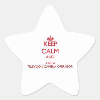 Gardez le calme et aimez un opérateur de caméra de sticker en étoile