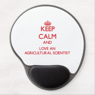 Gardez le calme et aimez un scientifique agricole tapis de souris en gel