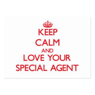 Gardez le calme et aimez votre agent spécial carte de visite grand format